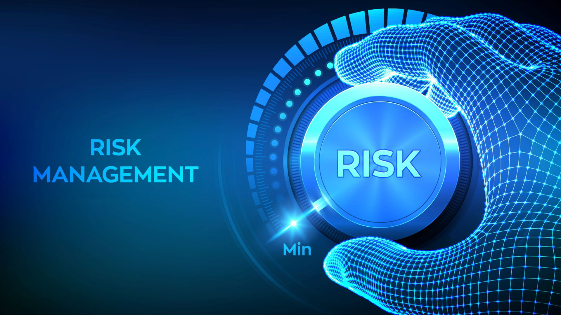 """A blue computer generated image of a hand on a dial labeled """"risk management."""""""