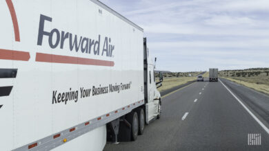 A tractor-trailer with the logo Forward Air seen from the right year side on a highway to illustrate an article about a ransomware attack on the company.