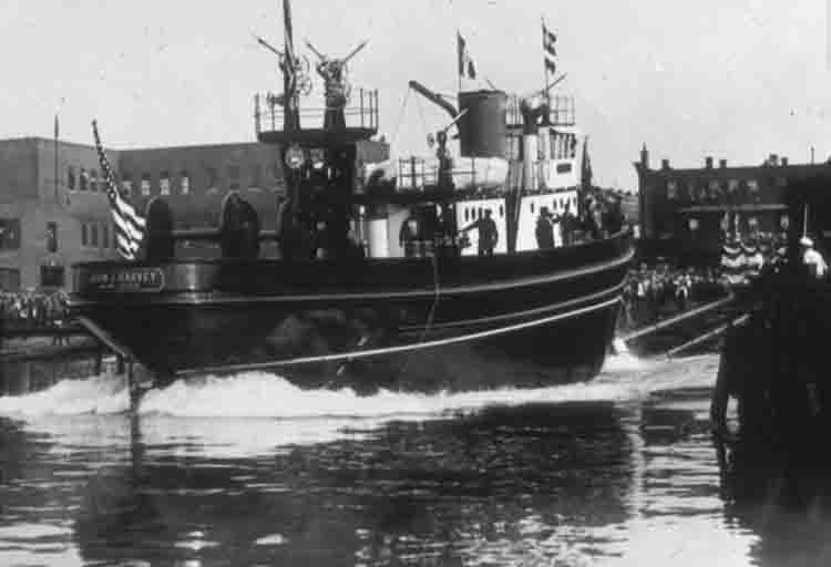 The John J. Harvey at its launching in 1931. (Photo: museumships.us)