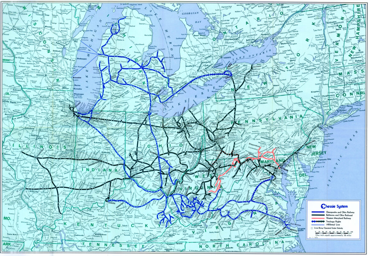 A 1978 map shows the Chessie System. (Image: Chessie System/American-Rails.com)