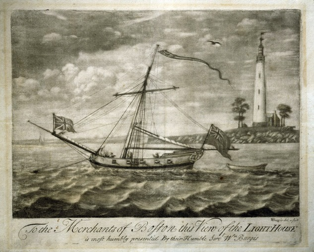 The Boston Light when Massachusetts was still a British colony. (Image: New England Historical Society)