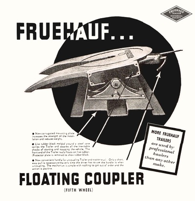 """An advertisement for the Fruehauf Trailer Company's """"Floating Coupler"""" (a fifth wheel). Image: singingwheels.com)"""