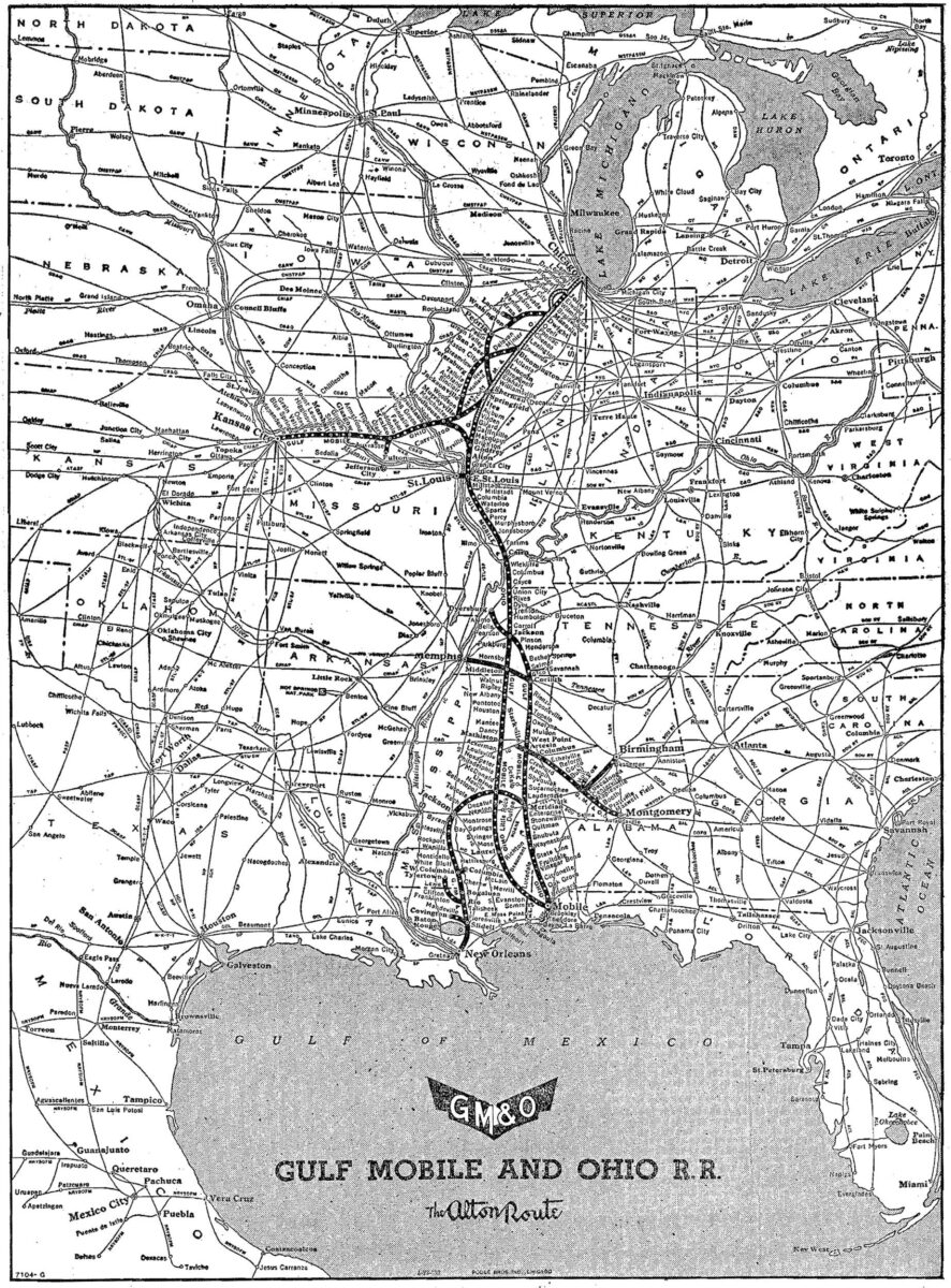An official route map of the GM&O from 1952. (Image: Adam Burns/American-Rails.com)