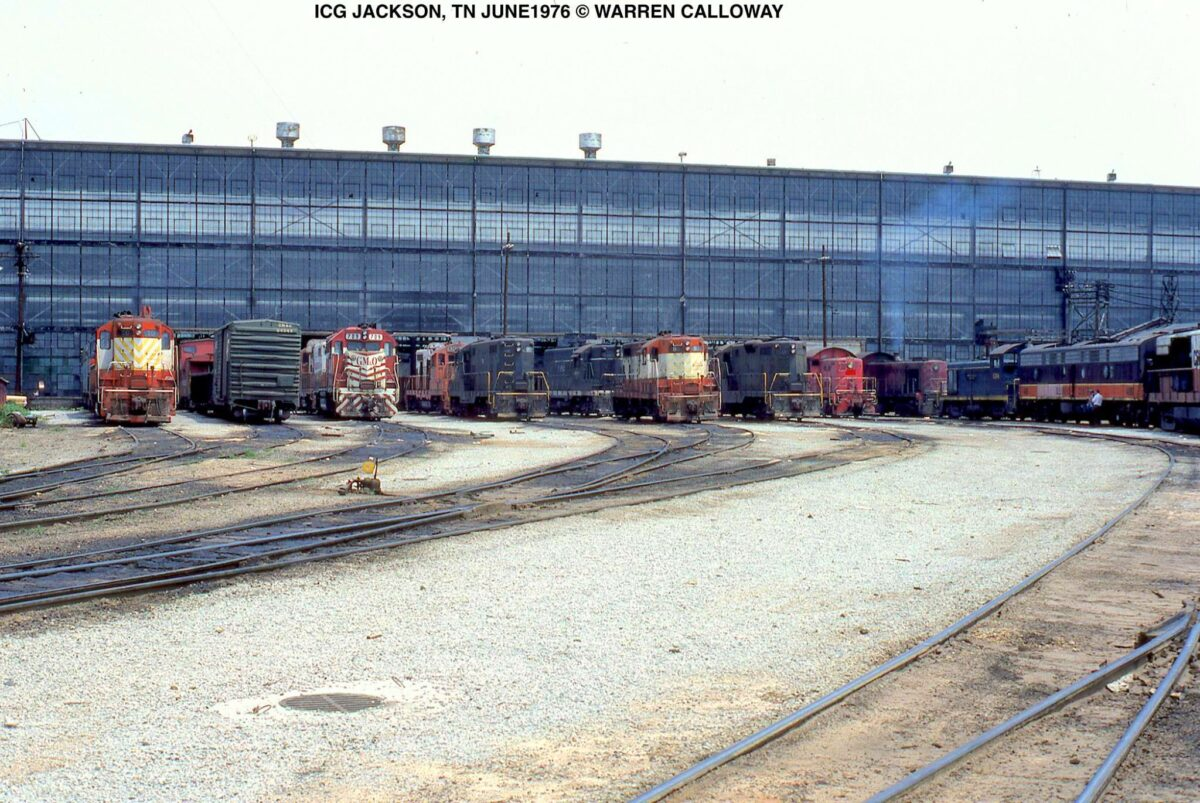 Former Illinois Central and Gulf, Mobile & Ohio units are seen here at the ex-GM&O/Mobile & Ohio Iselin Shops in Jackson, Tennessee (built in 1925) in the Illinois Central Gulf era during June 1976. (Photo: Warren Calloway/American-Rails.com)