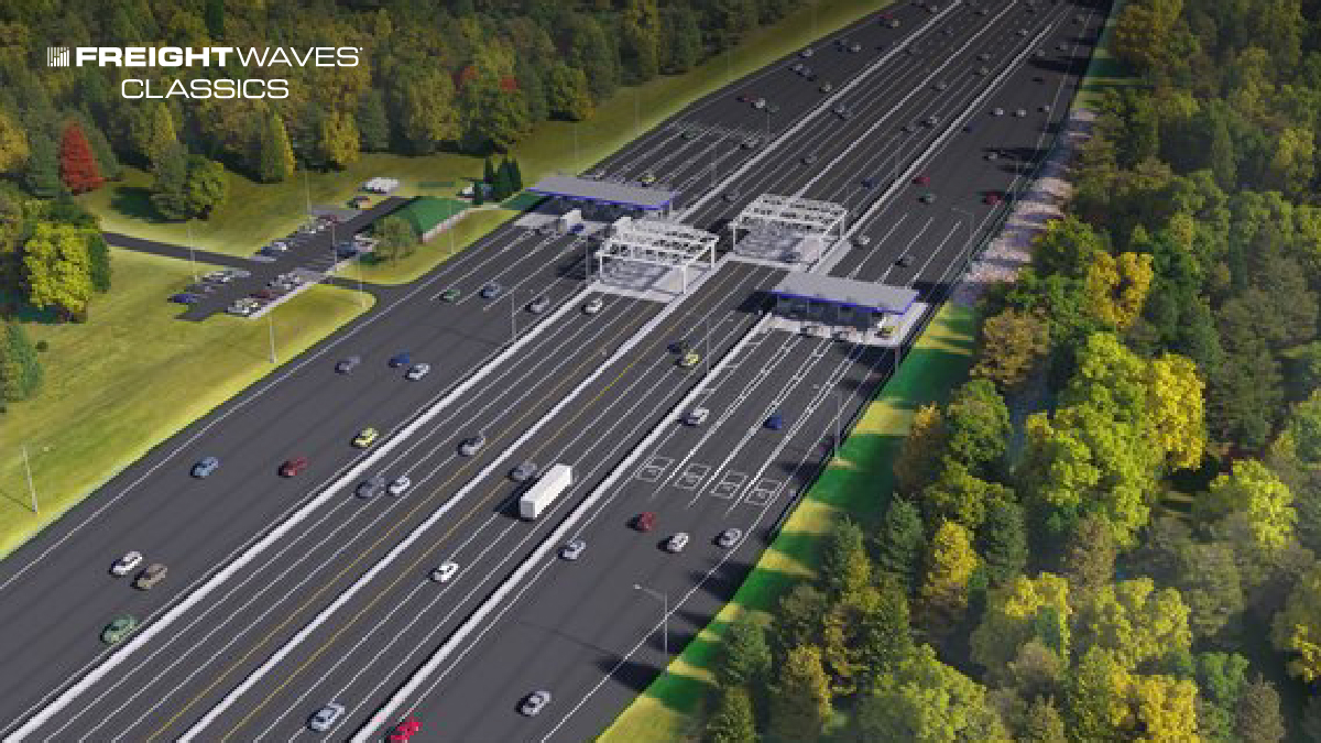 A rendering of a Maine Turnpike toll plaza. (Image: MTA)