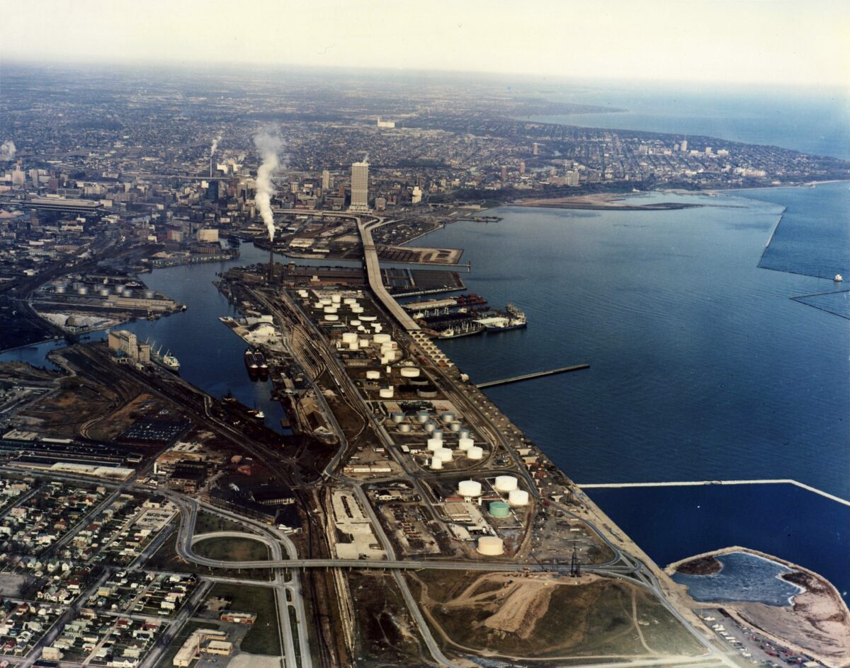 An aerial view shows the Port Milwaukee complex as well as highways and railroads. (Photo: Encyclopedia of Milwaukee - University of Wisconsin - Milwaukee)