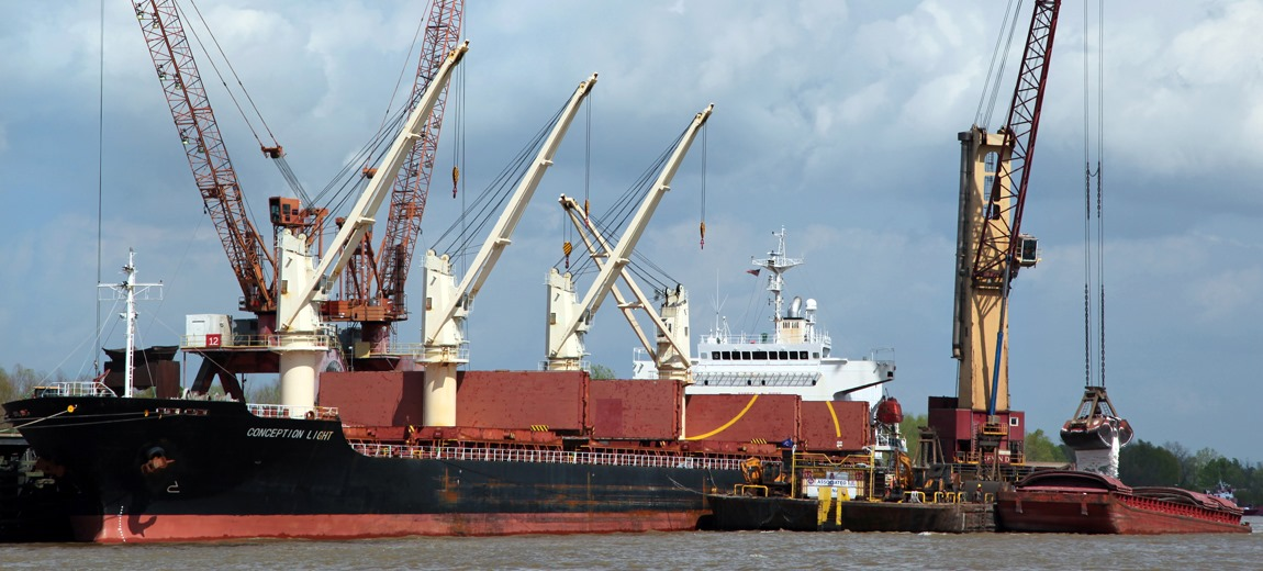 A ship at anchor at the Port of South Louisiana, with a number of cranes in the background.  (Photo: Port of South Louisiana Facebook page)