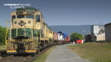 A Reading Railroad freight is on the move. (Photo: bikeschuylkill.org)