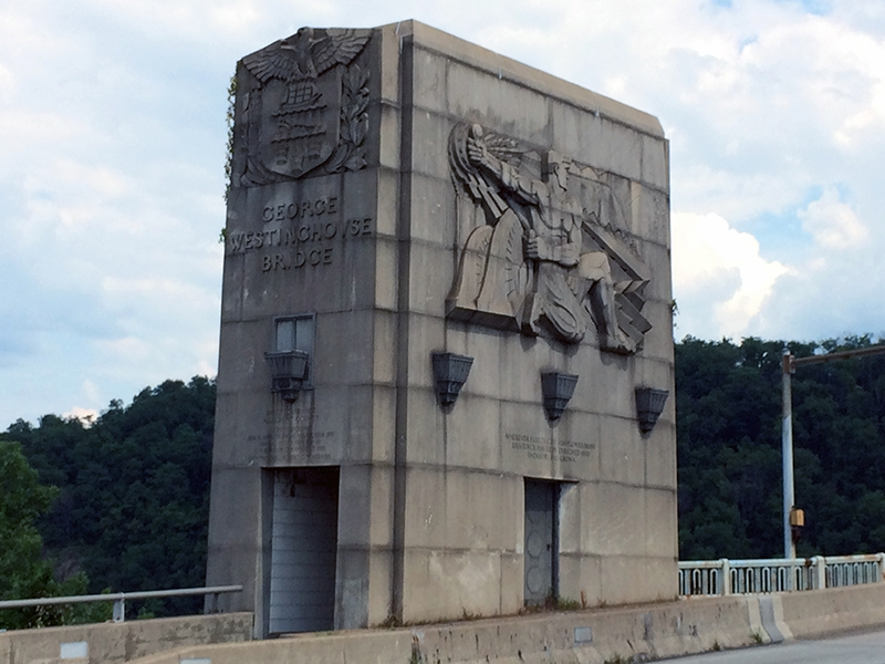 Two of the decorative elements of the George Westinghouse Memorial Bridge. (Photo: pittsburghartplaces.org)