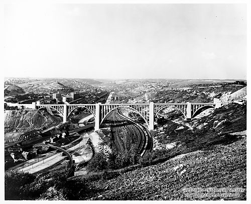 A view of the bridge from one of its sides shows why such a bridge was needed.  (Photo: Historical Society of Western Pennsylvania)