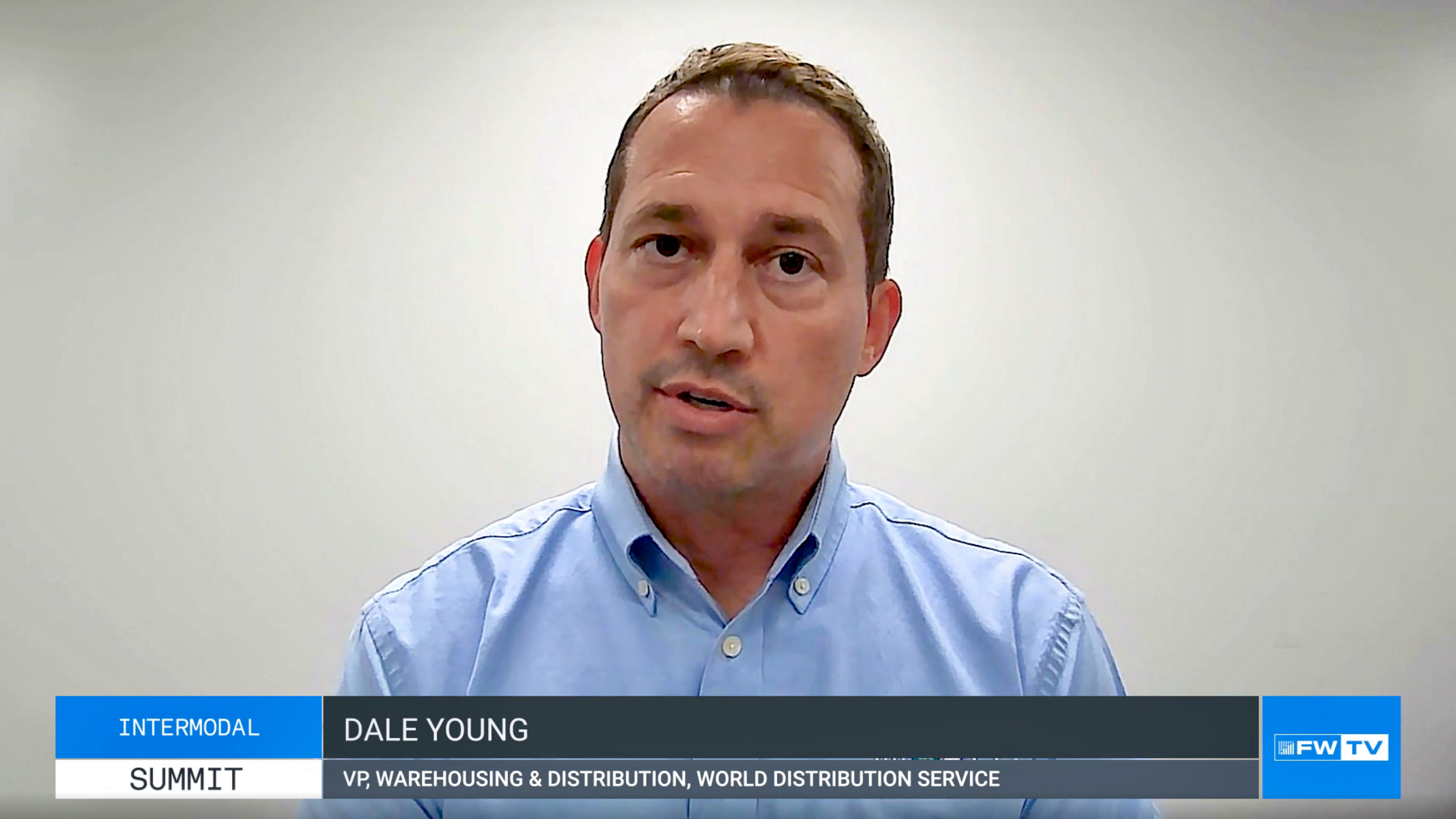 A video capture of a Dale Young of World Distribution Services discusses warehousing during FreightWaves' Intermodal Summit.