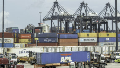 A view of containers being loaded and unloaded at the Port of Houston, where Ports America is a Terminal Operator.