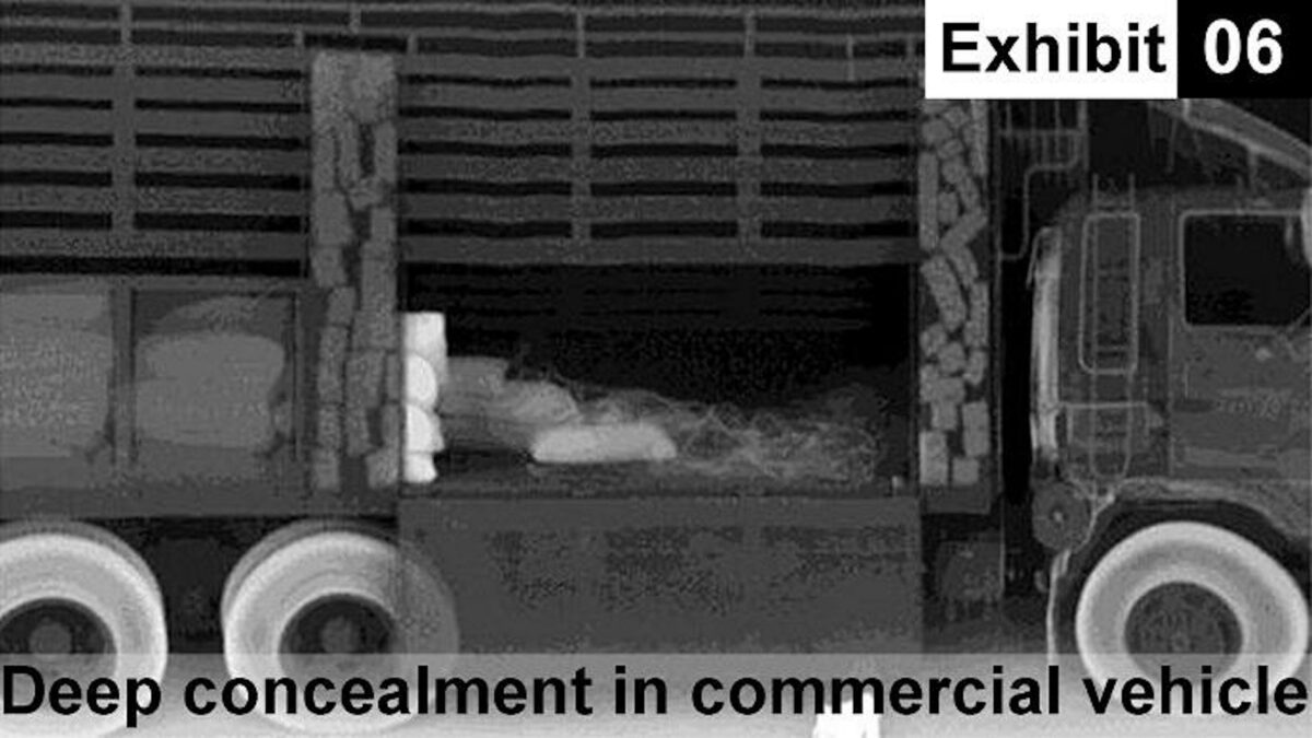 An x-ray image showing drugs concealed in a commercial vehicle.