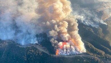 Aerial photo of the Alisal wildfire in Southern California in mid-October, 2021.