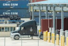 Trucks moving containers through port gates.