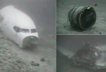 Underwater images of fuselage and engine of plane that crashed in ocean.