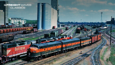 A set of Great Northern covered wagons and their mixed freight depart from Minneapolis' Union Yard during the 1960s. (Photo: Adam Burns Collection/American-Rails.com)