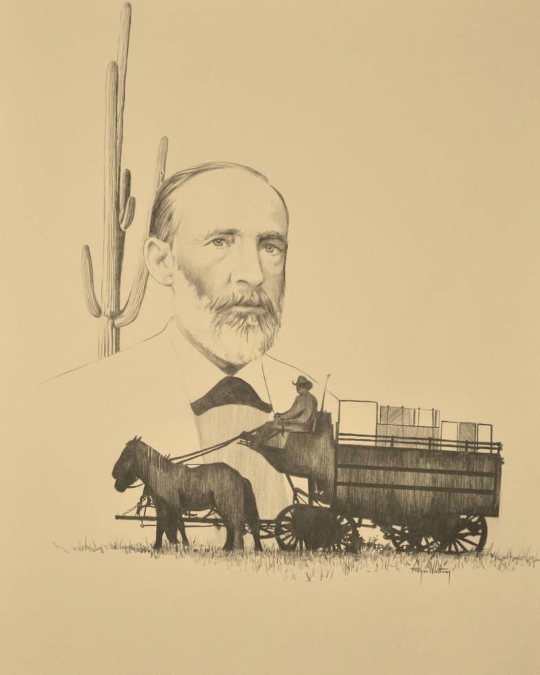 An illustration of a Tully & Ochoa wagon loaded with goods and a drawing of  Estévan Ochoa. (Image: Arizona State Library)