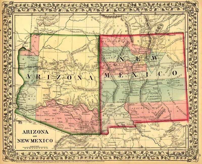 A map of the Arizona and New Mexico territories. (Image: Library of Congress)