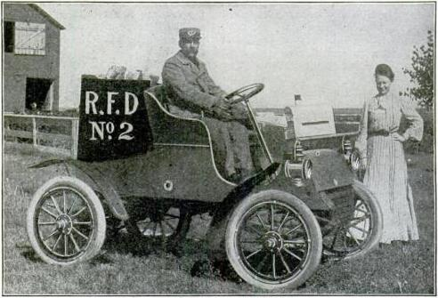 One of the first RFD carriers and his automobile.  This photo appeared in a 1905 issue of Popular Mechanics.