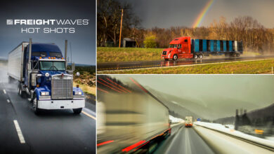 Photo montage of tractor-trailers in rain, snow and with a rainbow in the background.