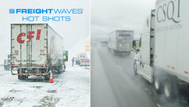 Montage of trucks in snow and rain.