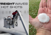 Photo montage of a plane being deiced and someone holding a large hailstone.