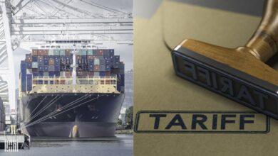 Two-sided photo with a large container vessel on the left and a tariff stamp on the right.