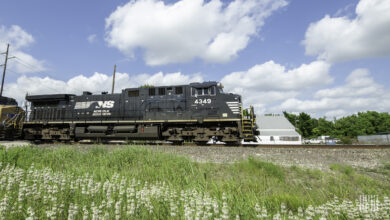 A photograph of a Norfolk Southern train.