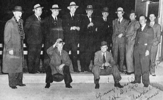 """The Turnpike's chief engineer (fifth from right) autographed this photo: """"Opening Pennsylvania Dream Highway, Oct. 1st, 1940, Sam Marshall, Chief Engineer.""""  (Photo: Pennsylvania Turnpike Commission)"""