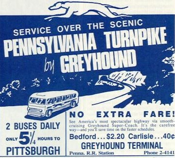Advertisements like this for Greyhound began to appear in Harrisburg newspapers. (Image: State Library of Pennsylvania)
