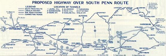 An early publicity map showing the highway with nine tunnels (pared to seven tunnels). (Photo: Pennsylvania Turnpike Commission)