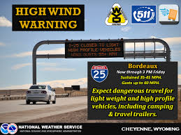 A high wind warning on I-25 in Wyoming.  (Photo: National Weather Service)