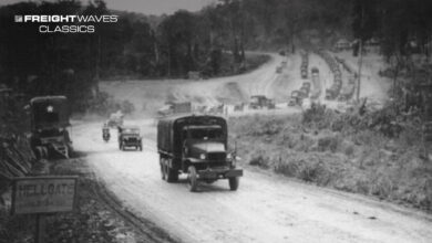 A convoy of supply trucks moves along the Ledo Road. (Photo: army/mil)