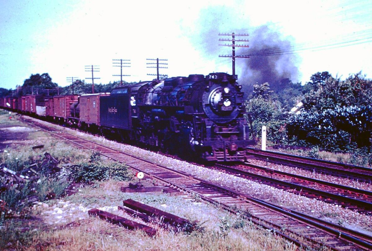 Nickel Plate Road 2-8-4 #743 (S-2) is near Cleveland, Ohio with a mixed freight during the 1950s. Edwin E. Olsen photo.