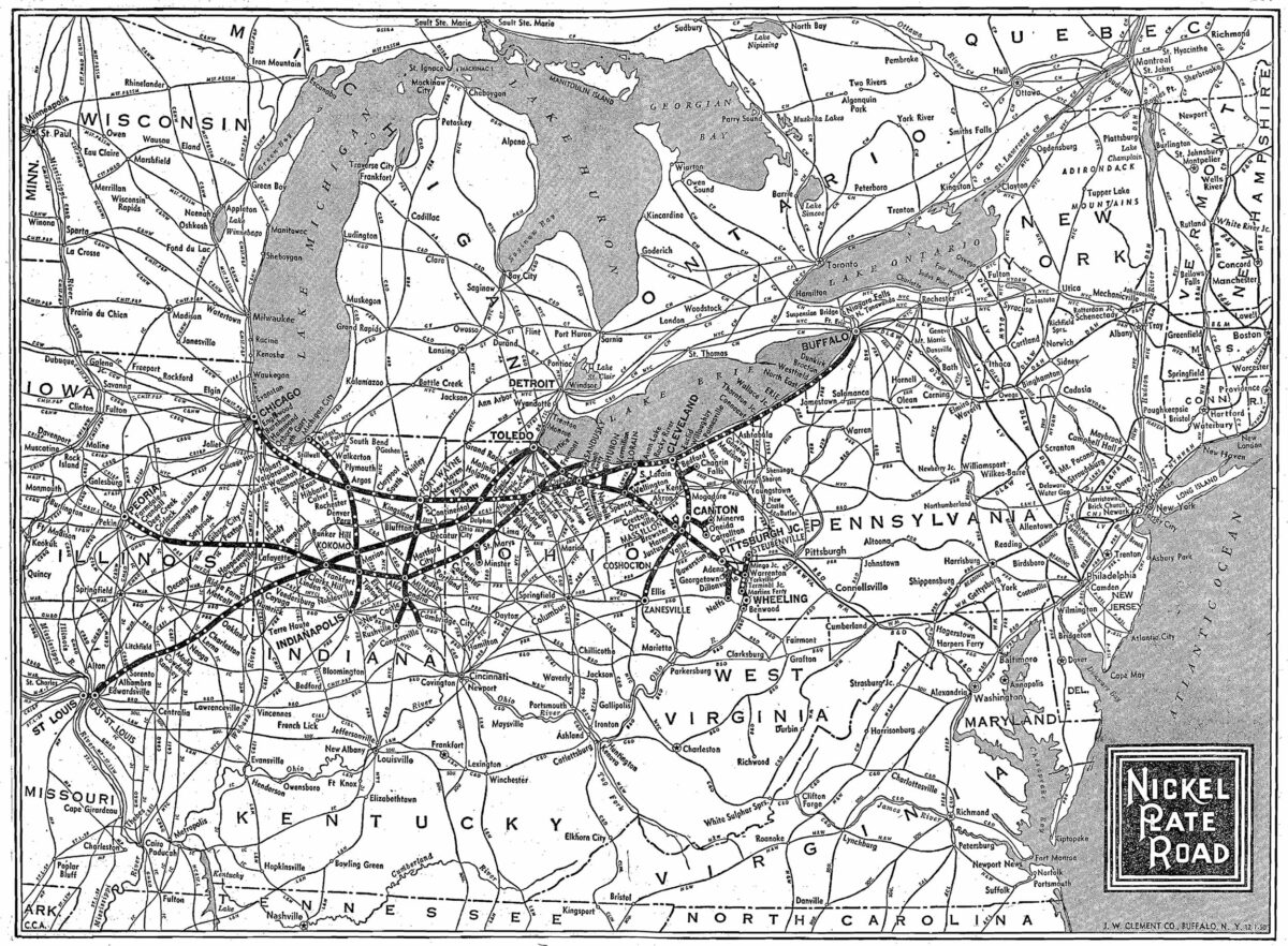 A system map of the Nickel Plate Road from 1950. (Image: Adam Burns/American-Rails.com)