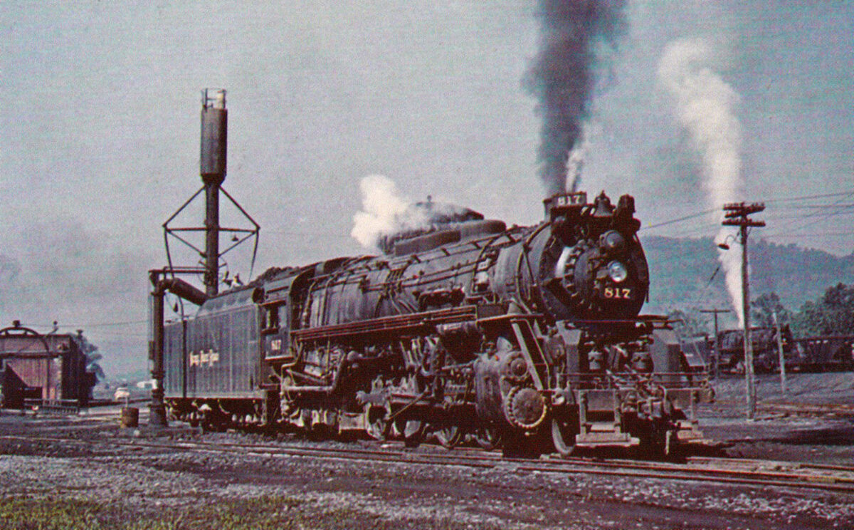 Nickel Plate Road 2-8-4 #817 (ex-Wheeling & Lake Erie #6417) takes on fuel and water at Dillonvale, Ohio on June 16, 1955. Bob Collins photo.