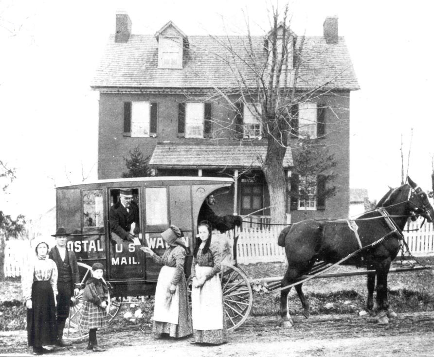 A family in Westminster, Maryland receives mail on the first day of the free rural delivery service in Carroll County.  (Photo: National Postal Museum / Smithsonian Institution)