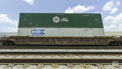 A photograph of a two intermodal containers stacked on top of a train.